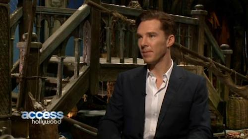 Benedict Cumberbatch sits in a makeshift Lake Town to discuss playing the dragon in 'The Hobbit: The Desolation of Smaug' with Access Hollywood, Dec. 3, 2013 -- Access Hollywood
