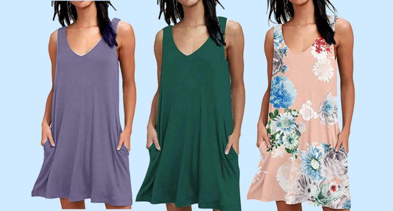 Naivikid Women's Sleeveless Pockets Casual Swing T-Shirt Dresses