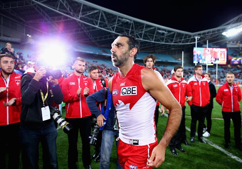 Retired Sydney Swans player Adam Goodes faced constant media scrutiny during the final three years of his AFL career