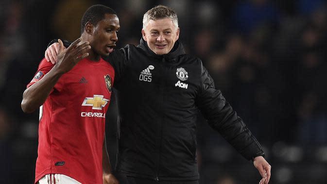 Striker Manchester United, Odion Ighalo, berpotensi dipermanenkan akhir musim ini. (AFP/Oli Scarff)