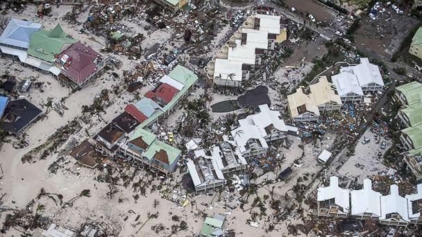 PHOTO: An aerial photography taken and released by the Dutch department of Defense, Sept. 6, 2017, shows the damage of Hurricane Irma in Philipsburg, on the Dutch Caribbean island of Sint Maarten. (AFP/Getty Images)