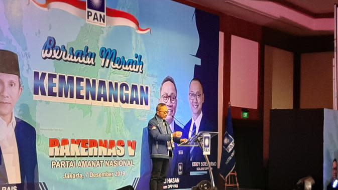 Ketua Umum Partai Amanat Nasional (PAN) Zulkifli Hasan atau Zulhas memandang partainya harus berfikir pragmatis. (Foto; Liputan6/Yopi Makdori)