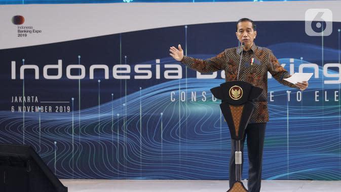 Presiden Joko Widodo memberi sambutan saat menghadiri Indonesia Banking Expo (IBEX) 2019 di Jakarta, Rabu (26/11/2019). IBEX 2019 untuk memberi rekomendasi terkait konsolidasi keuangan dan bisnis fintech guna menciptakan ekosistem keuangan yang kuat, efektif dan efisien. (Liputan6.com/Angga Yuniar)