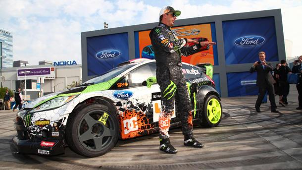 Ken Block serves a few donuts for Ford's 2014 Fiesta ST