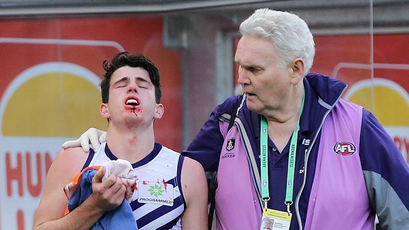 Andrew Brayshaw's jaw was broken after being punched by Andrew Gaff. Pic: Getty