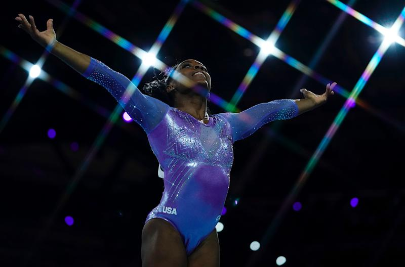 USA's Simone Biles performs during the apparatus finals at the FIG Artistic Gymnastics World Championships in Stuttgart, Germany, on Oct. 13, 2019. | Lionel Bonaventure—AFP/Getty Images