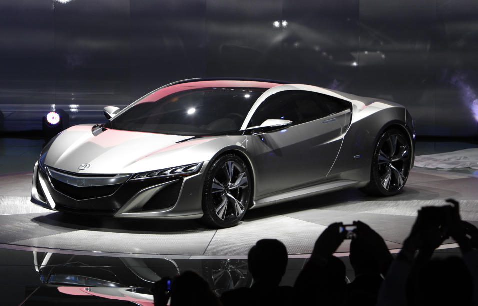 The Acura NSX Concept debuts at the North American International Auto Show in Detroit, Monday, Jan. 9, 2012. (AP Photo/Paul Sancya)