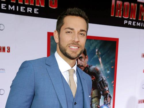"FILE - This April 24, 2013 file photo shows Zachary Levi at the world premiere of ""Iron Man 3"" held at the El Capitan Theatre in Los Angeles. Producers said Monday that Zachary Levi and Krysta Rodriguez will headline the new romantic musical comedy ""First Date"" by ""Gossip Girl"" writer Austin Winsberg. ""First Date"" centers on a successful young investment banker who meets a serial-dater at a local bistro. The show will be seen at The Longacre Theatre beginning July 9. (Photo by Eric Carbonneau/Invision/AP, file)"
