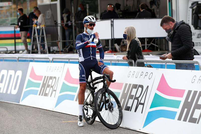 Julian Alaphilippe before the men's road race at the World Championships