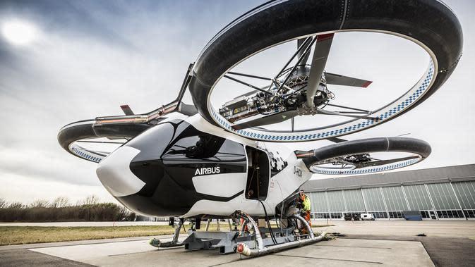 Airbus memamerkan inovasi terbaru yakni taksi terbang yang bernama eVTOL. (Foto: airbus.com)
