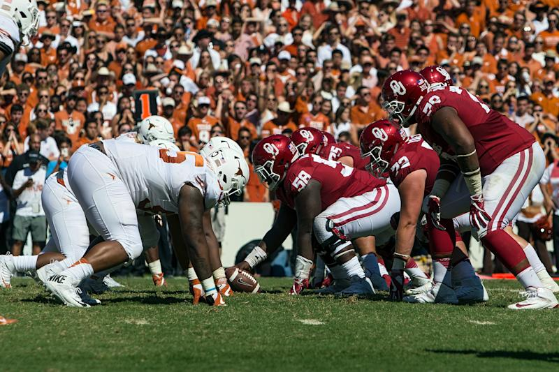 The Oklahoma Sooners and Texas Longhorns meet on Oct. 12 in the Red River Showdown with plenty on the line. (Getty file photo)
