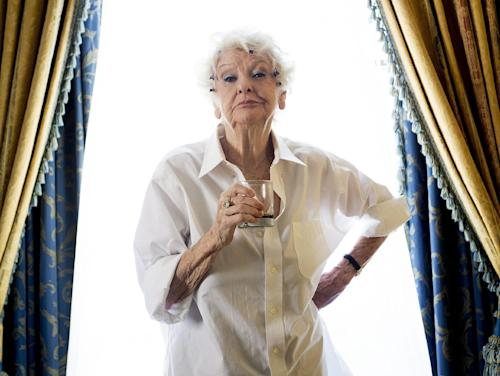 "FILE - This Sept. 11, 2012 file photo shows actress Elaine Stritch poses for a photograph during the 2012 Toronto International Film Festival in Toronto. Stritch discusses her experience being documented for ""Elaine Stritch: Shoot Me,"" a film at the Tribeca Film Festival. (AP Photo/The Canadian Press, Frank Gunn, file)"