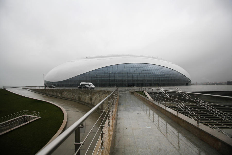 FOR STORY RUSSIA SOCHI YEAR TO GO - In this photo dated Wednesday, Jan. 30, 2013, the outside view of the Bolshoy ice dome, main ice hockey arena, at the Russian Black Sea resort of Sochi The Olympic stadium is seen under construction at the Russian Black Sea resort of Sochi, with just one year till the opening ceremony of the winter Olympic 2014 Sochi Games.  The Black Sea resort of Sochi is a vast construction site sprawling for nearly 40 kilometers (25 miles) along the coast and 50 kilometers (30 miles) up into the mountains, with no escape from the clang and clatter of the construction works, the drilling, jack-hammering and mixing of cement. (AP Photo/Igor Yakunin)