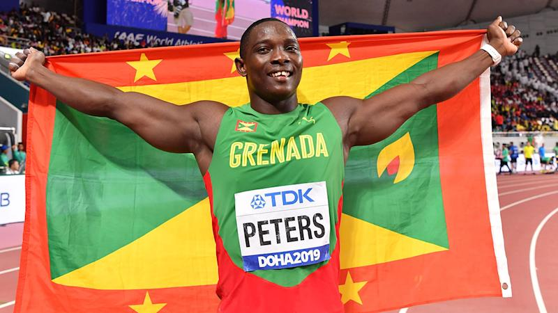 Anderson Peters, pictured here celebrating his win in the javelin final.