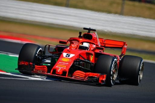 Despite a painful neck, Ferrari's Sebastian Vettel took a place on the front row of the British Grand Prix