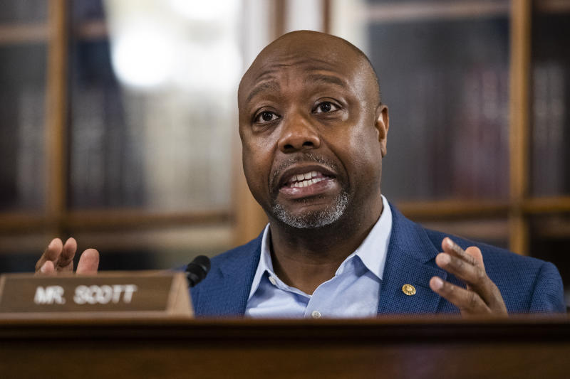 Senate Special Committee on Aging member Sen. Tim Scott, R-S.C., speaks during a hearing to examine caring for seniors amid the COVID-19 crisis on Capitol Hill, Thursday, May 21, 2020, in Washington. (AP Photo/Manuel Balce Ceneta)