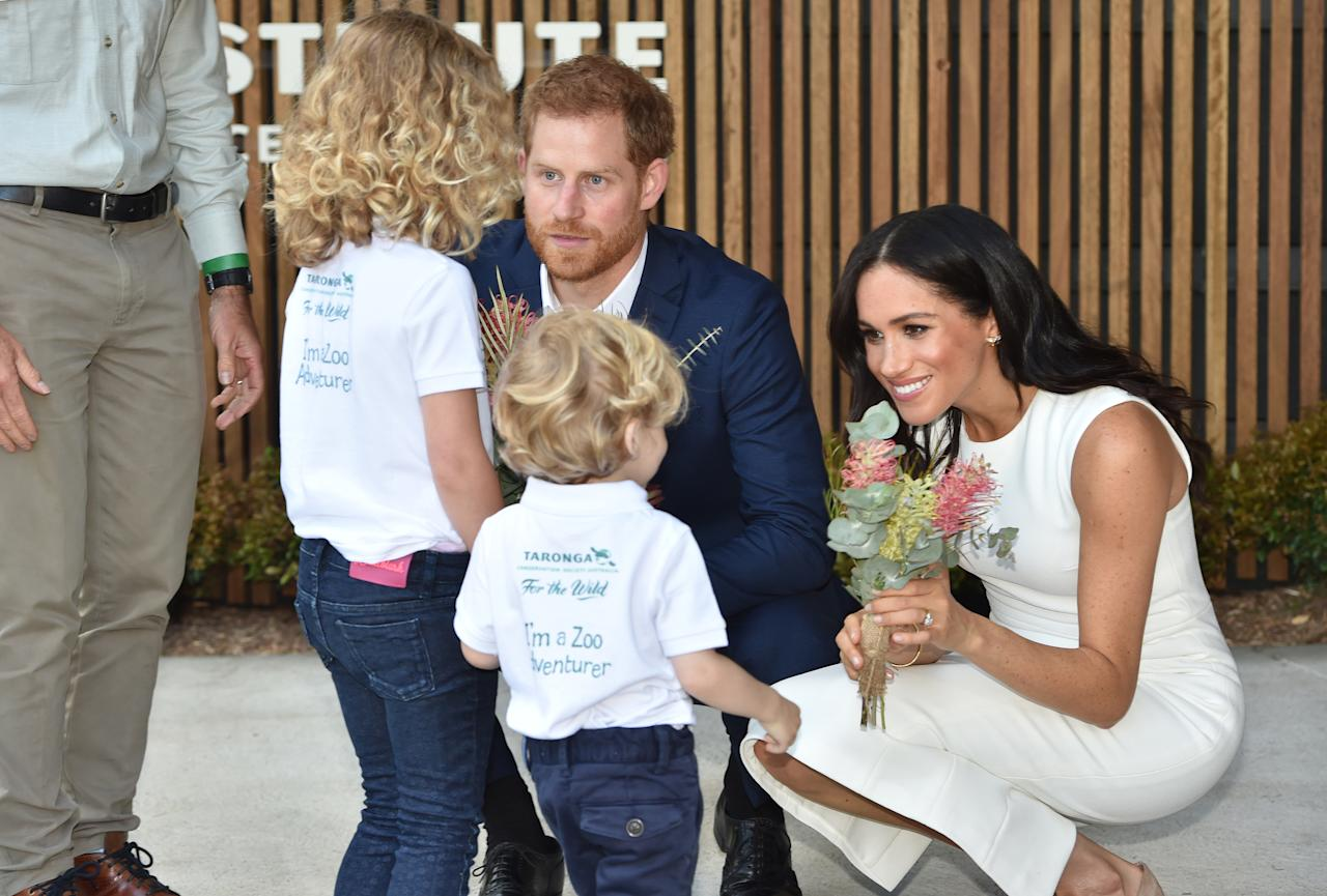<p>It was just after they opened the Taronga Institute of Science and Learning, with Meghan cutting a sash and Harry unveiling a plaque. Photo: AAP </p>