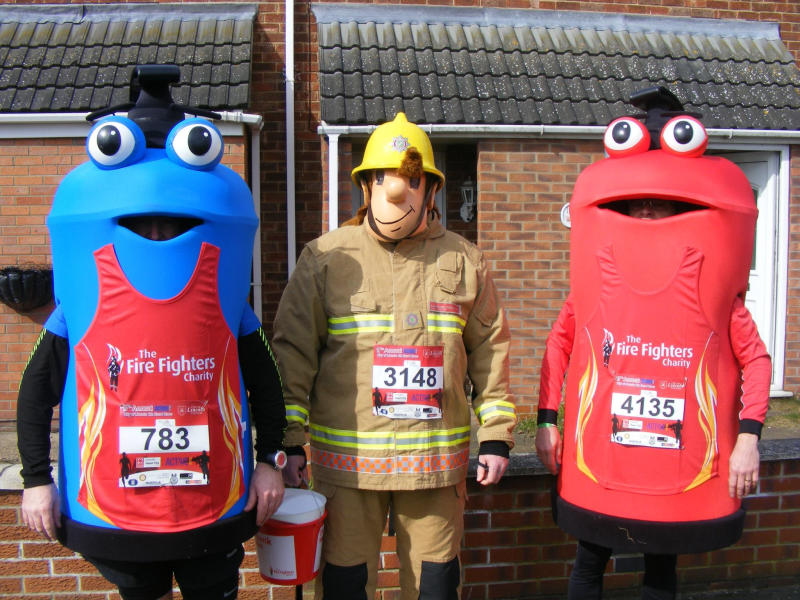 Lincolnshire County Council's old mascot Fireman Sam (centre), with new ones Freddy (left) and Filbert (right). Source: AAP
