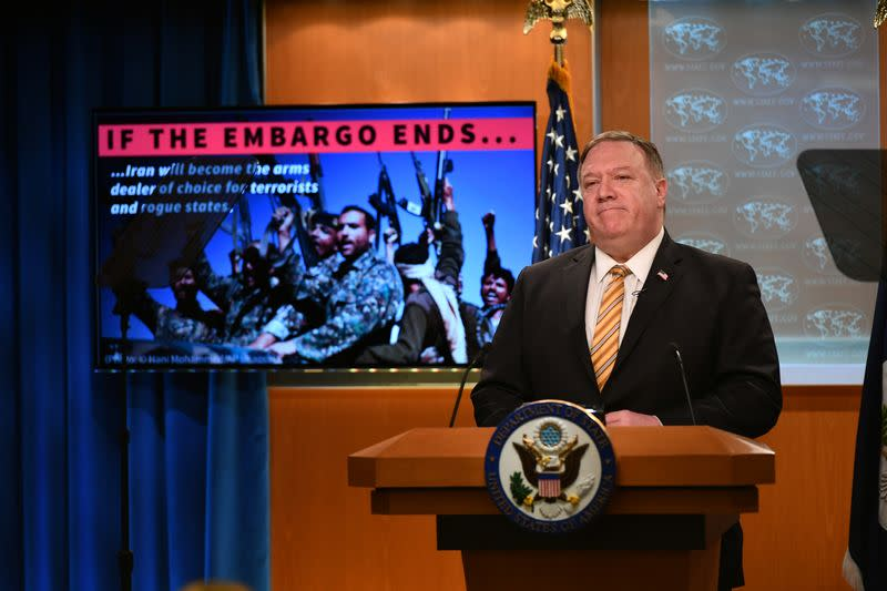 Pompeo pushes Iran arms embargo at UN, Russia says U.S. knee on Iran's neck