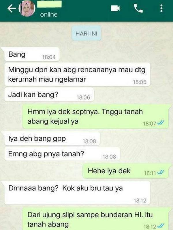 Chat Kocak saat Mencoba Melamar Ini bikin Ketawa Ngakak (sumber:Instagram/awreceh)