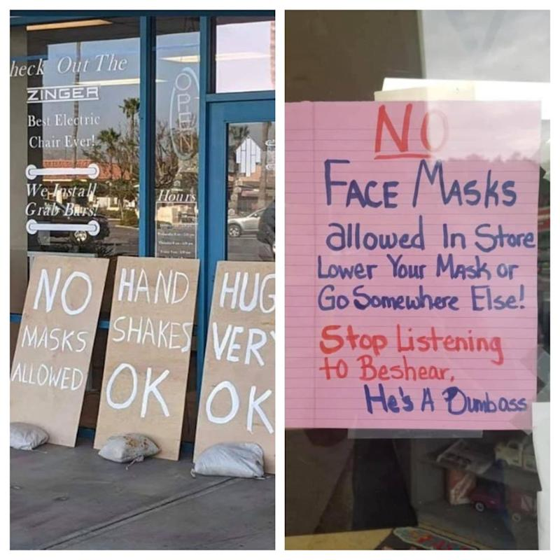 American stores have been putting up signs forbidding customers from donning their face masks. — Picture courtesy of Facebook/DanHensonandJacobMatthewLopez