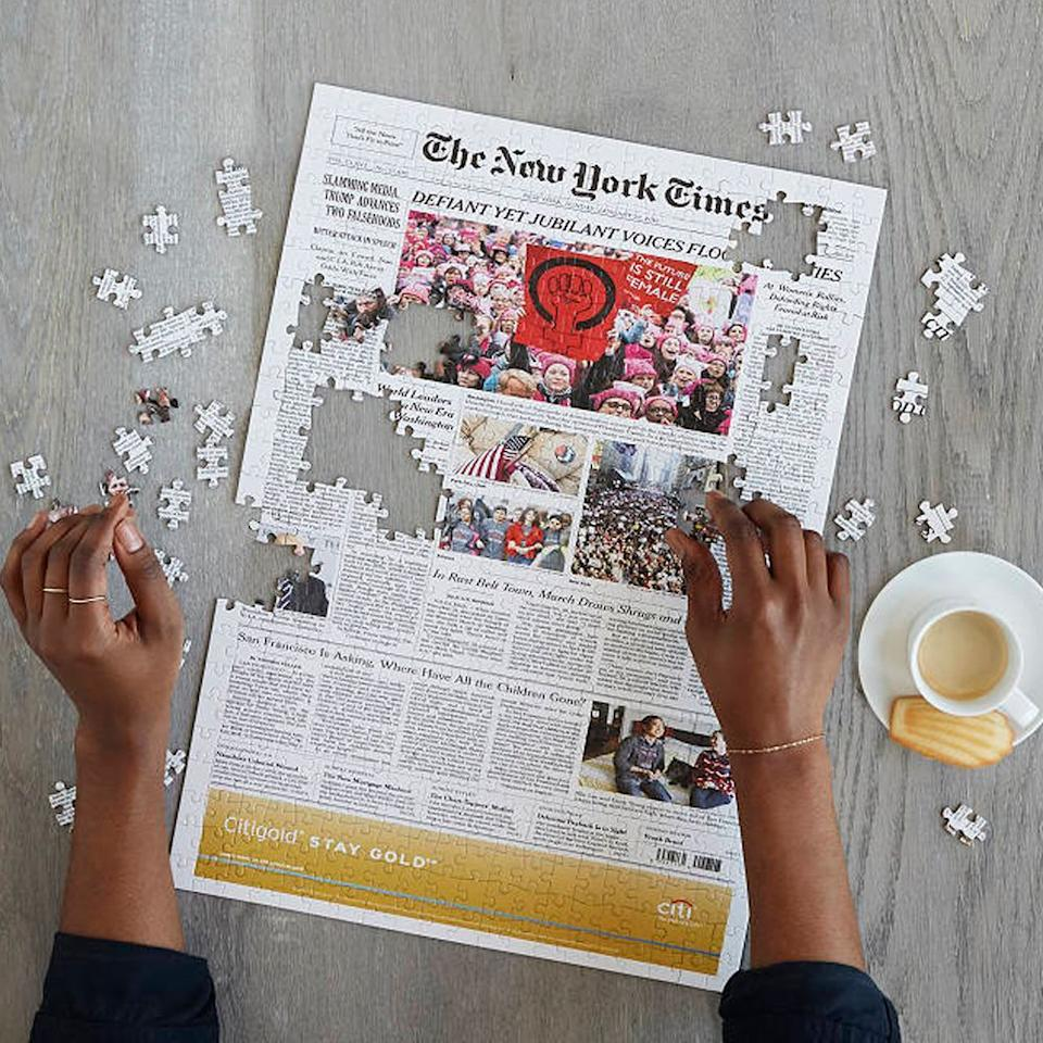 """<p><strong>New York Times</strong></p><p>uncommongoods.com</p><p><strong>$49.95</strong></p><p><a href=""""https://go.redirectingat.com?id=74968X1596630&url=https%3A%2F%2Fwww.uncommongoods.com%2Fproduct%2Fnew-york-times-custom-front-page-puzzle&sref=https%3A%2F%2Fwww.bestproducts.com%2Flifestyle%2Fg3562%2F40th-birthday-gift-ideas%2F"""" target=""""_blank"""">Shop Now</a></p><p>If they're a history buff, they'll love this thoughtful 40th birthday gift! It's a custom puzzle of the front page of the <em>New York Times</em> from the day they were born.</p><p><strong>More: </strong><a href=""""https://www.bestproducts.com/home/g121/best-gifts-for-friends/"""" target=""""_blank"""">These Gifts Are Perfect for Any Friend</a></p>"""