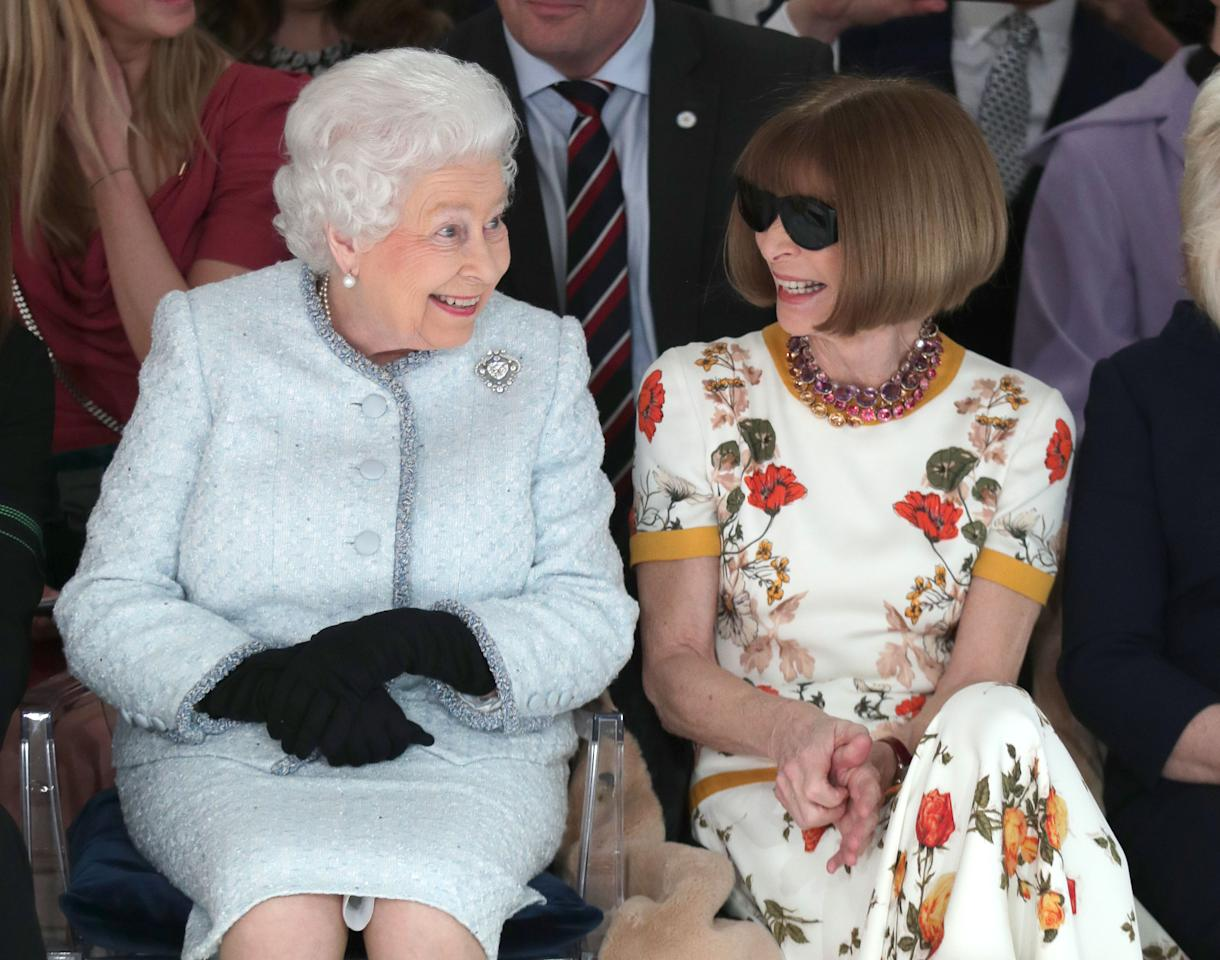<p>The Queen joining US Vogue editor Anna Wintour for the Richard Quinn show was one of the highlights of London Fashion Week in February (PA) </p>