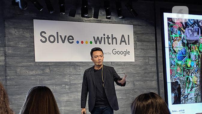 Febriadi Pratama, Co-founder Gringgo Indonesia Foundation saat di acara Google Solve with AI. (Liputan6.com/ Yuslianson)
