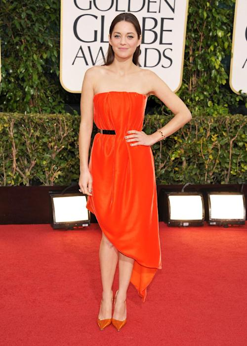 Actress Marion Cotillard arrives at the 70th Annual Golden Globe Awards at the Beverly Hilton Hotel on Sunday Jan. 13, 2013, in Beverly Hills, Calif. (Photo by John Shearer/Invision/AP)