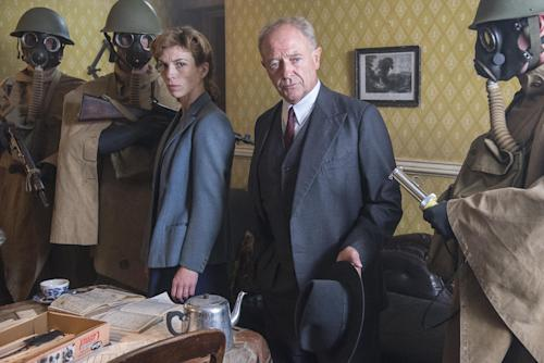 "Michael Kitchen, right, and Honeysuckle Weeks are shown from the series ""Foyle's War,"" premiering its new season on ""MASTERPIECE Mystery!"" on PBS on Sept. 15, 22, and 29. (AP Photo/PBS- ITV, Bernard Walsh)"