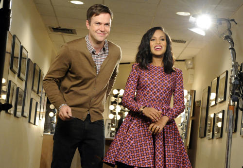 "FILE - In this Oct. 29, 2013, file photo released by NBC, actress Kerry Washington, right, stands with cast member Taran Killam during a promotional shoot for ""Saturday Night Live,"" in New York. After receiving criticism recently for its lack of a black female cast member, the show on Saturday, Nov. 2, 2013, opened with a skit where guest host Washington portrayed Michelle Obama, then Oprah Winfrey. She was asked to change into a Beyonce outfit - before executive producer Lorne Michaels stepped in. (AP Photo/NBC, Dana Edelson, File)"