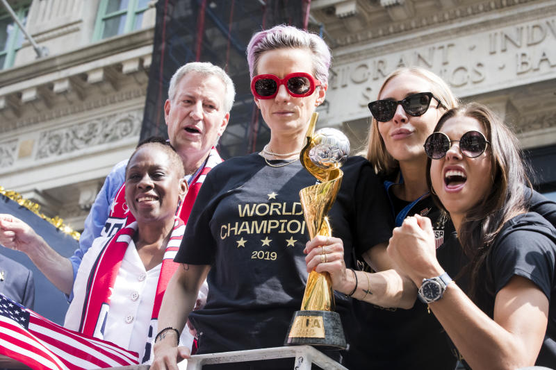Allyson Felix points to Megan Rapinoe and the USWNT as allies in a larger fight for advancing the cause of women athletes. (Getty)
