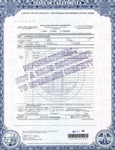 "This photo released by the Los Angeles County Registrar/County Clerk shows page 2 of actress Natalie Wood's death certificate. Authorities amended Wood's death certificate on Aug. 1, 2012 to reflect some of the lingering questions about how the actress died in the waters off Catalina Island in November 1981. The changes include altering her cause of death to ""Drowning and other undetermined factors"" and adding the statement ""Circumstances not clearly established"" to how Wood ended up in the water while on a yacht with husband Robert Wagner and actor and co-star Christopher Walken. (AP Photo/ Los Angeles County Registrar/County Clerk)"