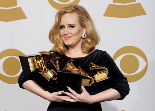 "FILE - In this Feb. 12, 2012 file photo, Adele poses backstage with her six awards at the 54th annual Grammy Awards in Los Angeles. Adele won awards for best pop solo performance for ""Someone Like You,"" song of the year, record of the year, and best short form music video for ""Rolling in the Deep,"" and album of the year and best pop vocal album for ""21."" Adele rolled so deep in 2012 that she's been voted The Associated Press Entertainer of the Year. (AP Photo/Mark J. Terrill, File)"