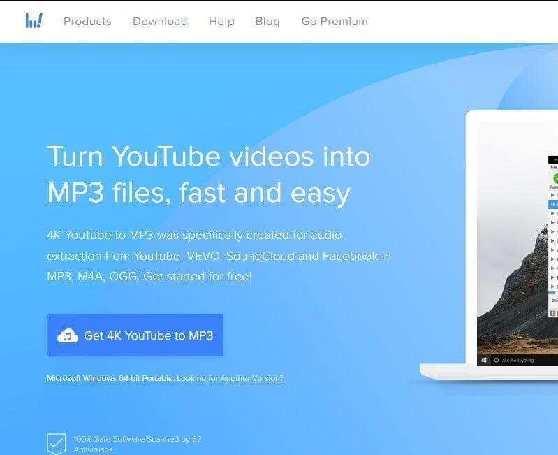 4k YouTube to MP3 screenshot of website
