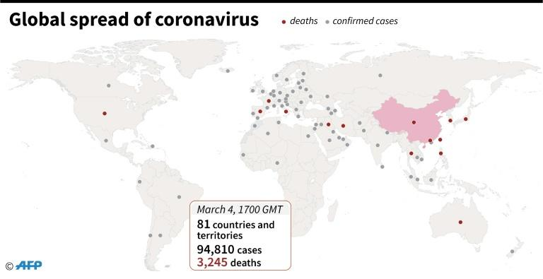 Countries and territories with confirmed cases of the new coronavirus, as of March 4 at 1700 GMT