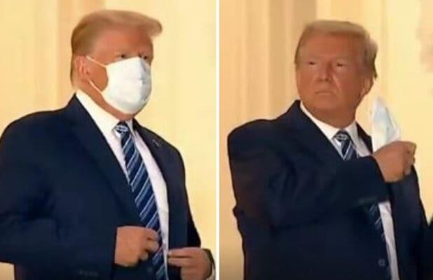 Trump Immediately Removes Mask at White House After Leaving Hospital