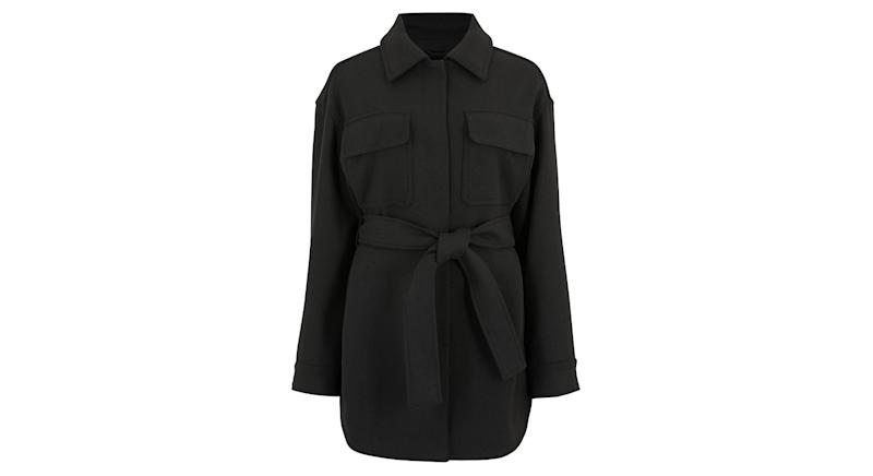 Belted Utility Jacket with Wool