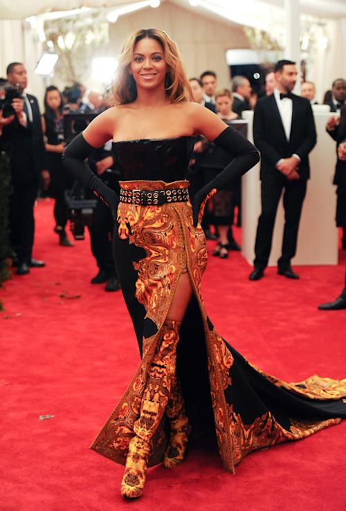 "Singer Beyonce Knowles attends The Metropolitan Museum of Art Costume Institute gala benefit, ""Punk: Chaos to Couture"", on Monday, May 6, 2013 in New York. (Photo by Evan Agostini/Invision/AP)"