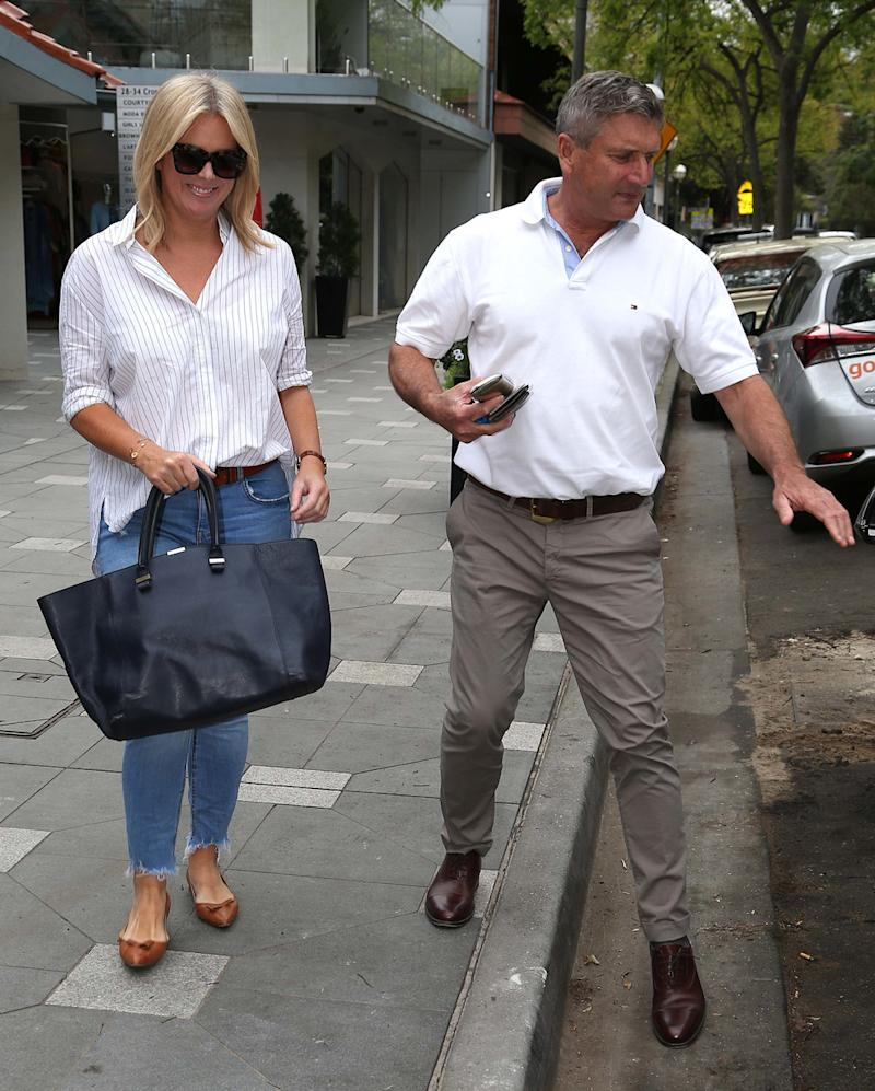 A photo of Sunrise host Samantha Armytage and her boyfriend Richard Lavender leaving jewellery store Jan Logan in Double Bay, Sydney.