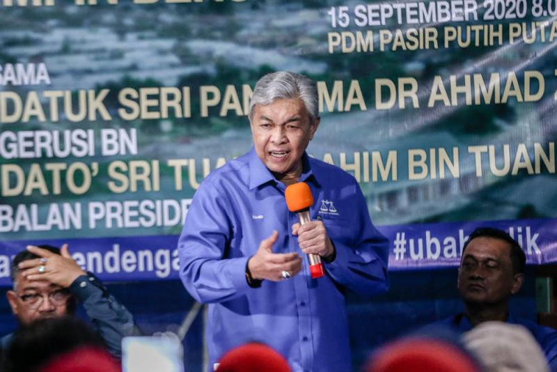 BN chairman Datuk Seri Ahmad Zahid Hamidi speaks while campaigning in Tanjung Keramat, Sabah September 15, 2020. — Picture by Firdaus Latif