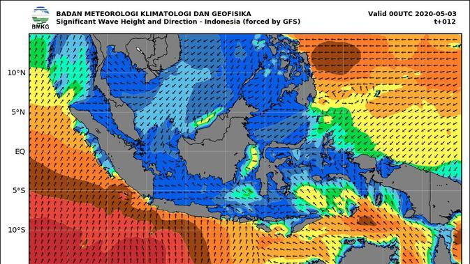 Peta perkiraan gelombang tinggi di wilayah Indonesia. (Liputan6.com/ BMKG)
