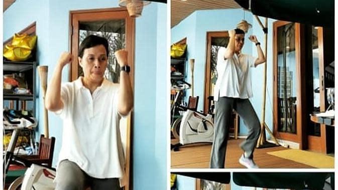 Sri Mulyani saat olahraga online bersama jajaran Kemenkeu. (dok. Instagram @smindrawati/https://www.instagram.com/p/B_GxnfbJKrk/Putu Elmira)
