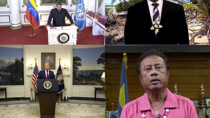 Kiri atas: Presiden Venezuela, Nicolás Maduro Moros ; Kanan Atas: PM negara kepulauan Pasifik Tuvalu, Kausea Natano ; Kiri Bawah: Presiden AS Donald Trump ; Kanan Bawah: Presiden Palau, Tommy E.Remengesau Jr