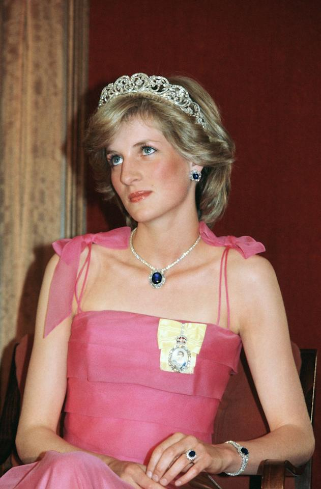 """<p>This family heirloom belonged to Diana's father, John Spencer, Eighth Earl of Spencer, and earned """"icon"""" status when worn with her David and Elizabeth Emanuel gown on her wedding day. This stunning tiara was crafted by Garrard in the 1930s and was worn by Diana's two sisters on their respective wedding days. Though the princess didn't own it, it became widely associated with her. </p>"""