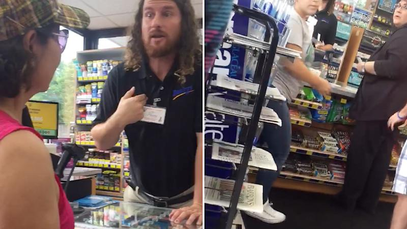 An employee at a Buckys convenience store pictured chastising an employee over race. Source: Facebook.