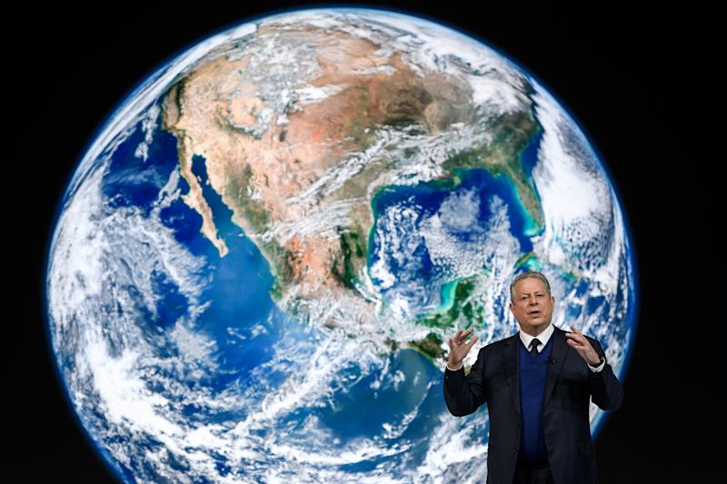 TOPSHOT - Former US vice president Al Gore delivers a speech at the World Economic Forum (WEF) annual meeting, on January 22, 2019 in Davos, eastern Switzerland. (Photo by Fabrice COFFRINI / AFP) (Photo credit should read FABRICE COFFRINI/AFP/Getty Images)