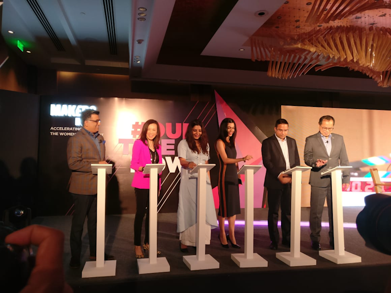 L to R: Nikhil Rungta, Country Manager, India, Verizon Media; Rose Tsou, Head of international, Verizon Media; Shradha Sharma, Founder and CEO, YourStory; Shereen Bhan, Managing Editor, CNBC TV18; Saurabh Kumar, Private Secretary to Union Minister Ravi Shankar Prasad; and Rico Chan, Co-head - APAC, Verizon Media, launching MAKERSIndia website the official inauguration of the platform on October 4, 2019, in New Delhi.