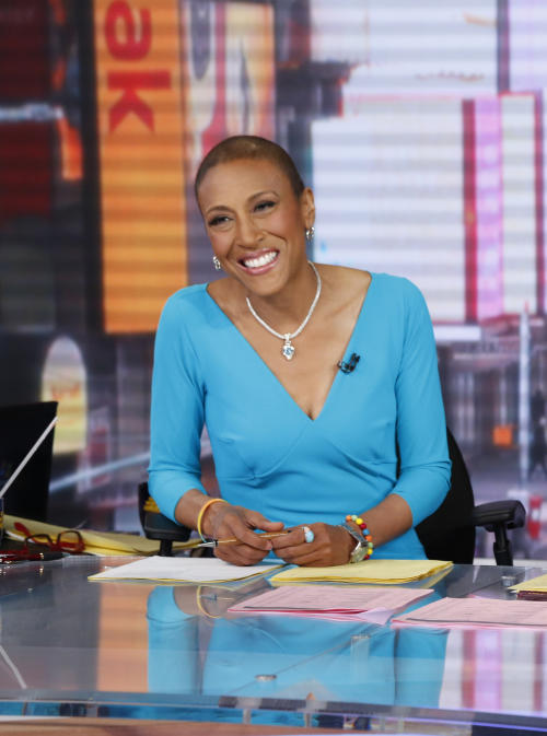"FILE - This image released by ABC shows anchor Robin Roberts during a broadcast of ""Good Morning America,"" Feb. 20, 2013 in New York. Roberts is resting at home and off ""Good Morning America"" this week after another hospital stay as part of her recuperation from a rare blood disease. The ABC News morning show host said she felt ill last week while on vacation and was told to return to New York and go to the hospital to fight off an infection. She's home now, and posted on Facebook on Thursday, April 18, that she's feeling much better. Roberts underwent a bone marrow transplant last September to treat MDS, a blood and bone marrow disease. (AP Photo/ABC, Heidi Gutman)"