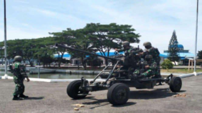 Latihan Bahaya Marinir TNI, Tembak Jet Musuh Pakai Meriam Besar